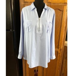 Chico's Pull Over Light Blue Top Size 16
